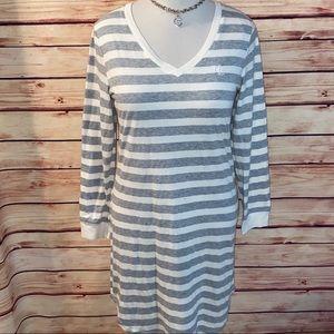 Ralph Lauren Gray/Ivory Striped Sleep Shirt